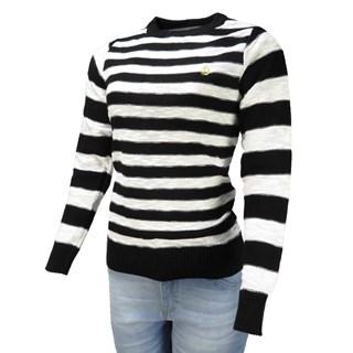 Blusa Tricot Volcom Keep Cruisin Listrada Preto e Branco