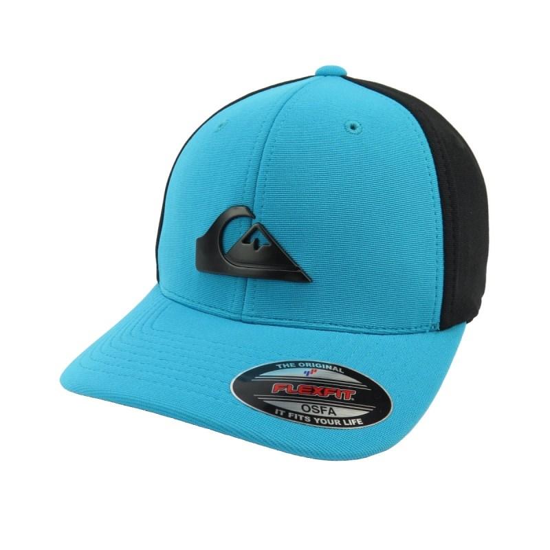 Boné Quiksilver de Aba Torta Flexfit Solid Preto e Azul - Back Wash c3a6132ccec