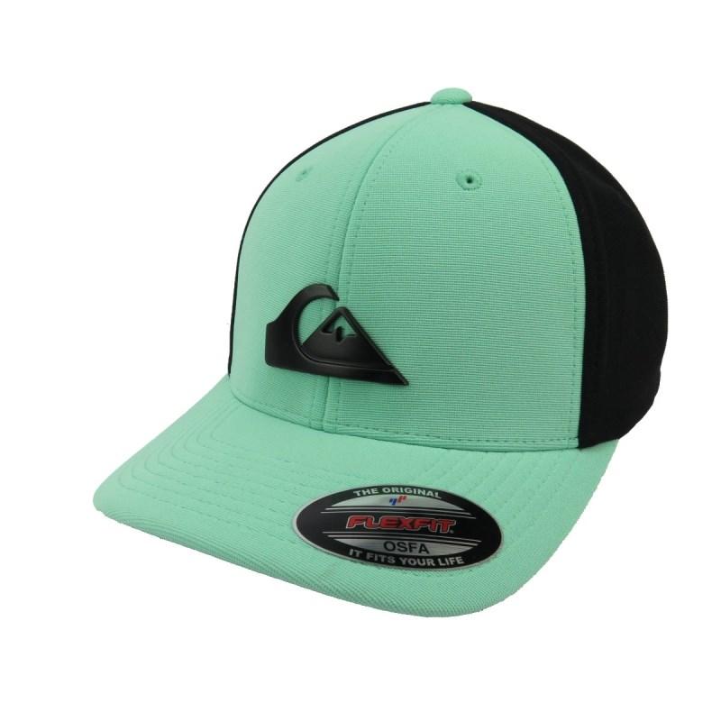 Boné Quiksilver de Aba Torta Flexfit Solid Preto e Verde - Back Wash 97309685865