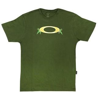 Camiseta Oakley O Slice Tropical Tee Verde Escuro