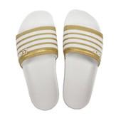 Chinelo Feminino Qix Branco Dourado 109015