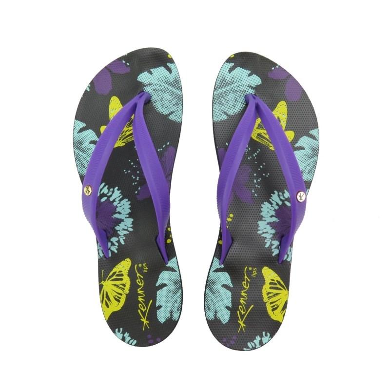 8b2e6bb64 Chinelo Kenner Lips Ibiza Butterfly Preto Roxo - Back Wash