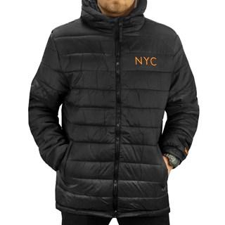 Jaqueta New Era Puffer NYC Preta e Laranja