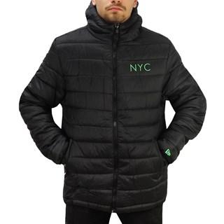 Jaqueta New Era Puffer NYC Preta e Verde