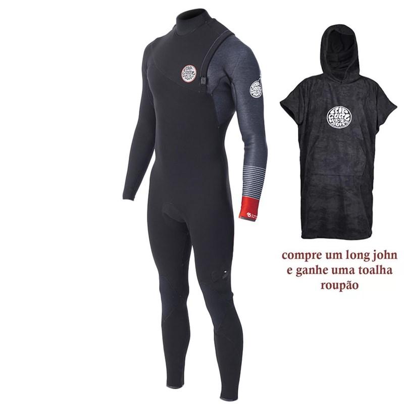 Long John Rip Curl E-Bomb Pro E6 3/2 ZipFree Preto