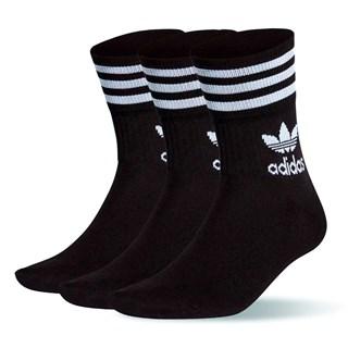 Meia Adidas Originals Mid Cut Crew Preta / Kit com 3 Pares