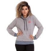 Moletom Canguru Feminino Element Stripe Navy Preto e Branco