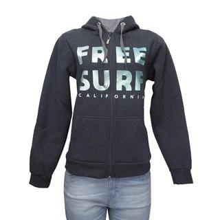 Moletom Canguru Feminino Freesurf Win Cinza e Verde