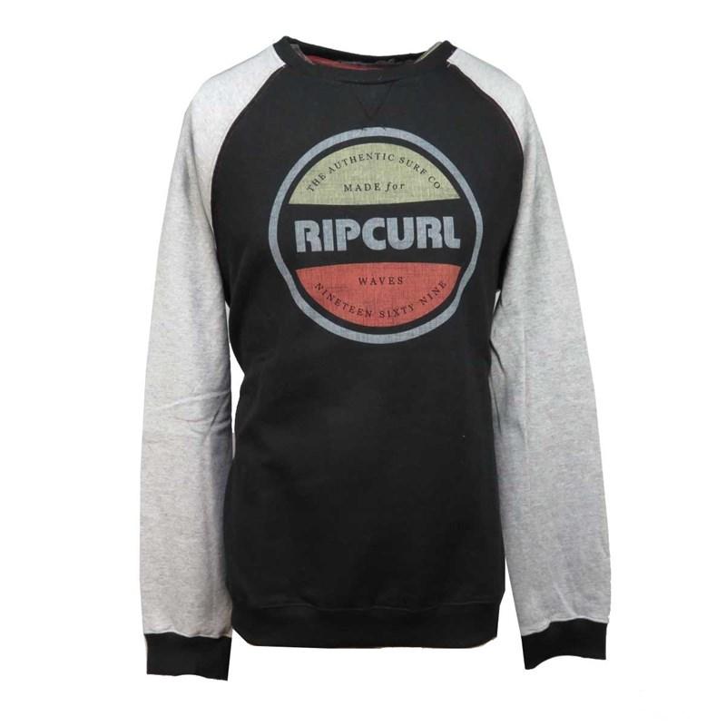 Moletom Careca Rip Curl Preto e Cinza - Back Wash 8a324bc21d30e