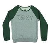Moletom Careca Roxy Happyday Verde/Cinza