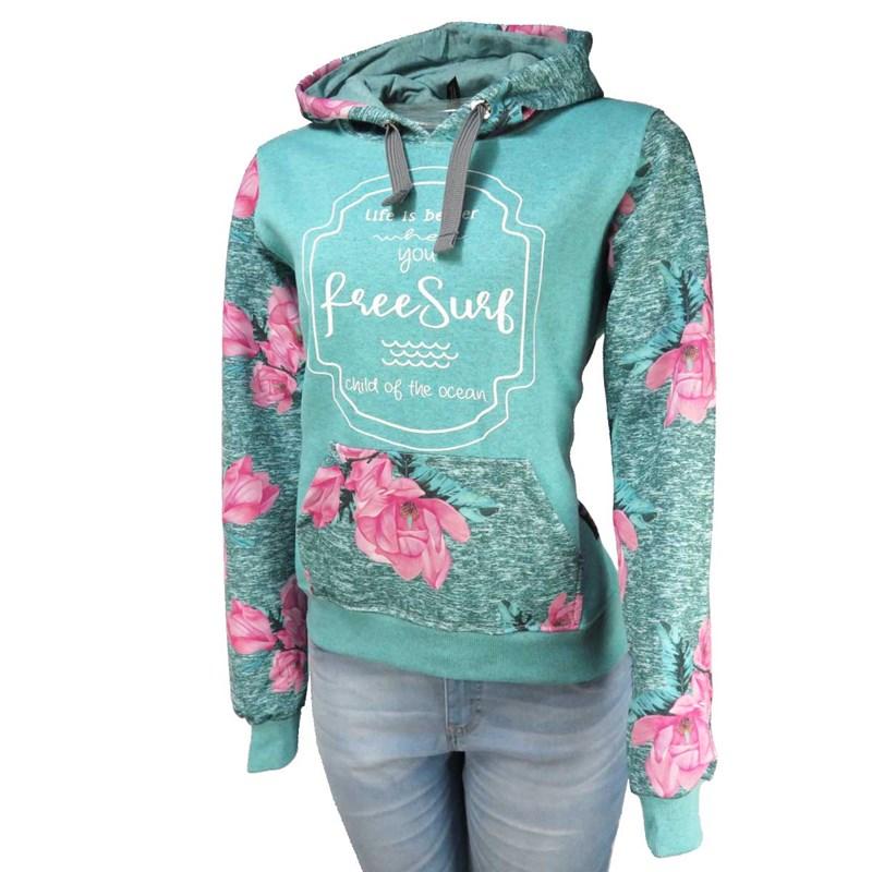 e3aacb8f6a570 Moletom Feminino Freesurf Flower Verde - BackWash