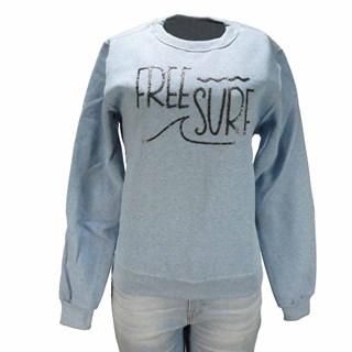 Moletom Feminino Freesurf Surf Azul Mescla