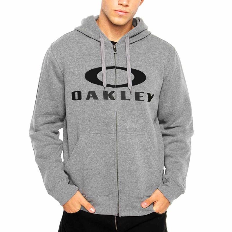 Moletom Masculino Oakley 3.D Logo Com Ziper Cinza - Back Wash 895658db932