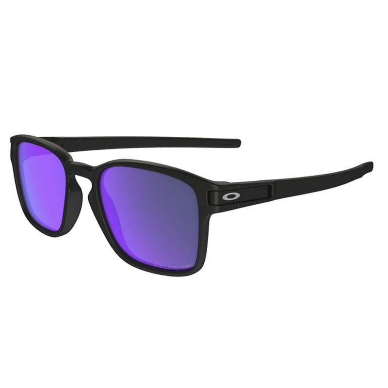 Óculos de Sol Oakley Latch Squared Matte Black Violet Iridium Polarizado 4ef0037644