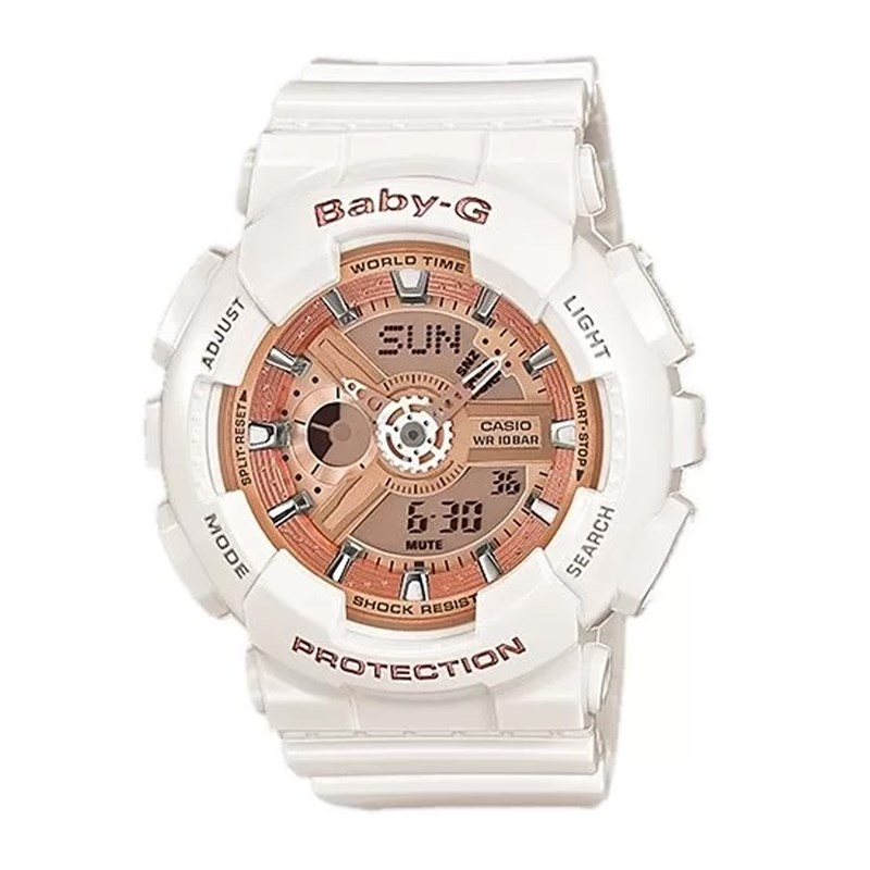 5325aa55456 Relógio Casio Baby G Branco Rosê - BackWash