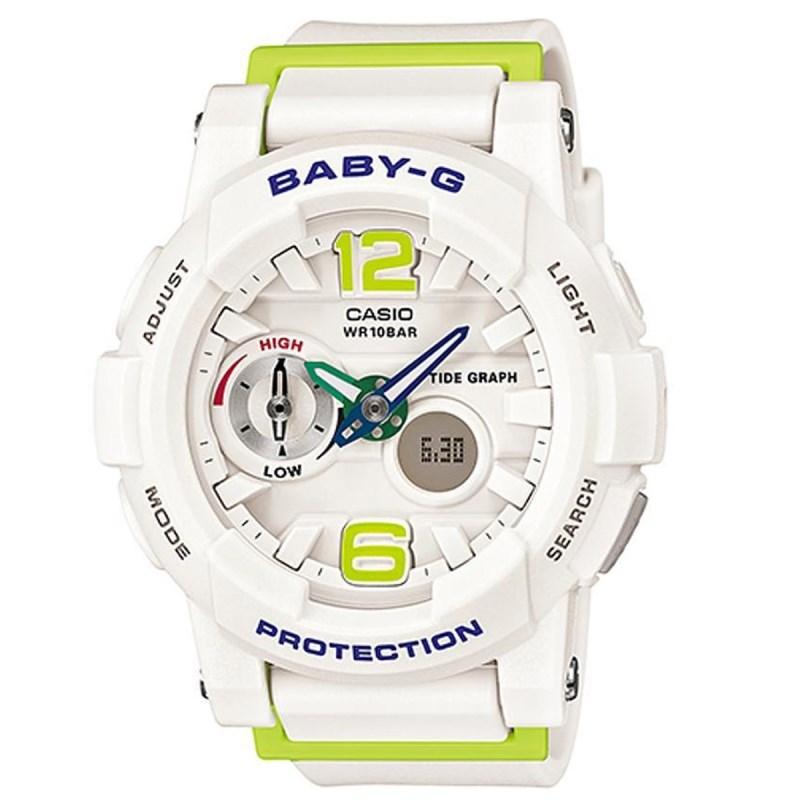 11c8683e952 Relógio Casio Baby G G-Lide Branco Verde - Back Wash