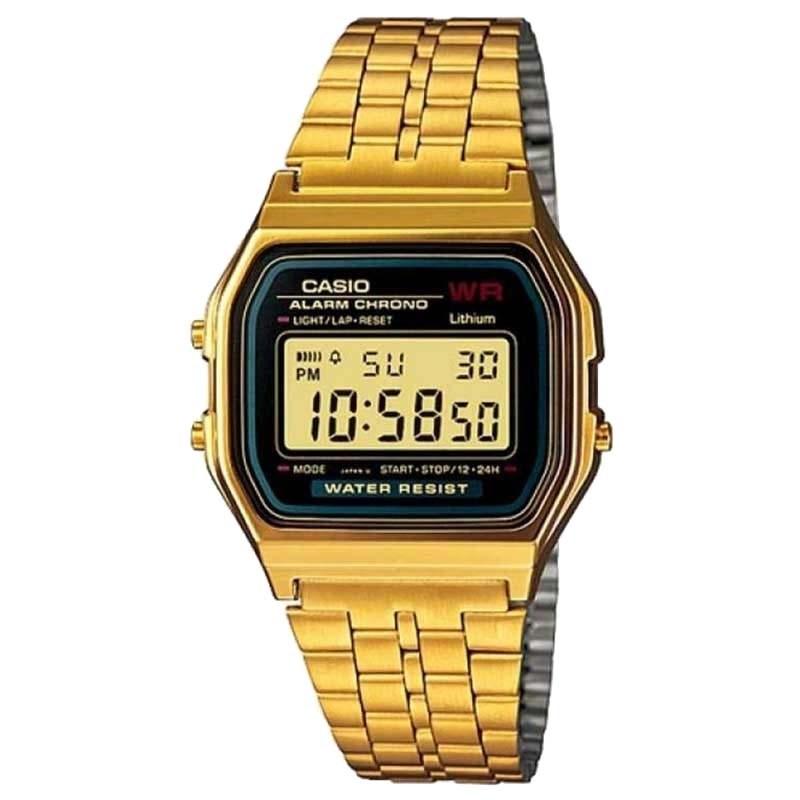 86372f51a6b Relógio Casio Vintage Dourado Preto A159WGEA-1DF - Back Wash