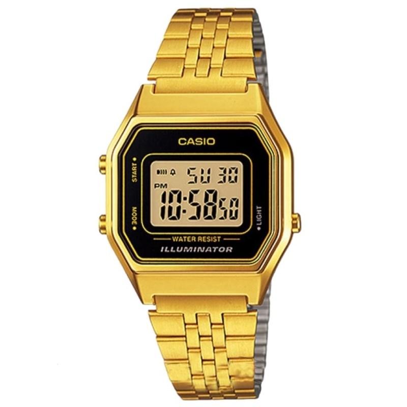 c413073c5e2 Relógio Casio Vintage Dourado Preto LA680WGA-1DF - Back Wash