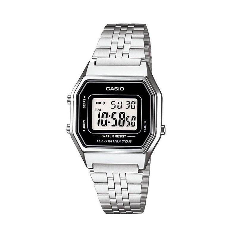 384e9aa2d7e Relógio Casio Vintage Prata Preto LA680WA-1DF - Back Wash