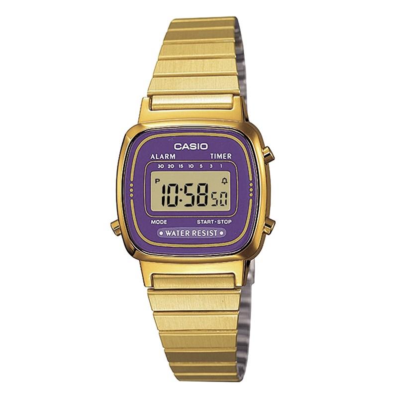2dfcdb084a5 Relógio Casio Vintage Preto Roxo LA670WGA-6DF - Back Wash