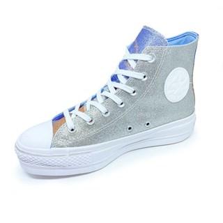 Tênis Converse All Star Chuck Taylor Hi Lift Glitter Prata Branco